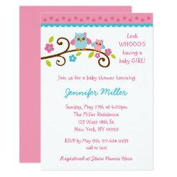 Cute Pink Owl Baby Shower