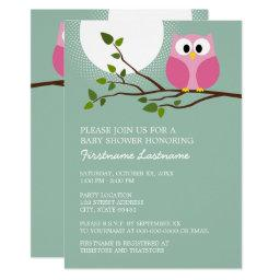 Cute Pink Owl on Branch Baby Girl Shower