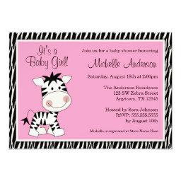 Cute Pink Zebra Baby Shower