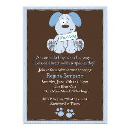 Cute Puppy Dog Baby Shower  Blue