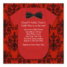 Cute Red and Black Baby Boy Shower