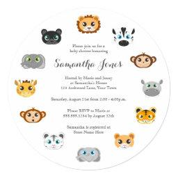 Cute Round Jungle Animal Theme Baby Shower