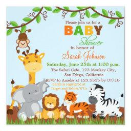 Cute Safari Jungle Animals Baby Shower