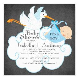 Cute Stork Chalkboard Boy Baby Shower Invitatation