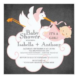Cute Stork Chalkboard Gir lBaby Shower