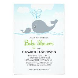 Cute Whale and Baby Whale, Baby Shower