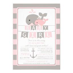 Cute whale Girl Baby Shower
