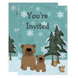 Cute Winter Bears Woodland