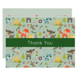 Cute Woodland Animals Illustrated Event Thank You