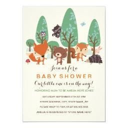 Cute Woodland Friends Baby Shower Invite