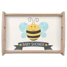 Cute Yellow & Black Bee Baby Shower Serving Tray
