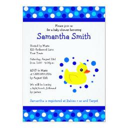Cute Yellow Ducky on Blue Dots  Invite