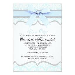 Damask Heart Blue Ribbon