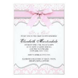 Damask Heart Pink Ribbon