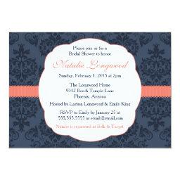 Damask  Baby, Baby Shower, coral navy