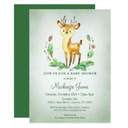 Deer Woodland Baby Shower  Green