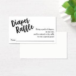 Diaper Raffle Ticket, Black Script | Custom Color