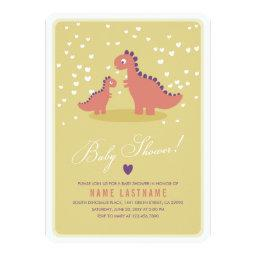 Dinosaur Yellow Pink  Invite Rounded