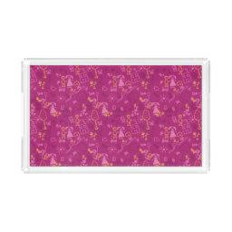 Doodle girly pink for baby hand drawn pattern acrylic tray
