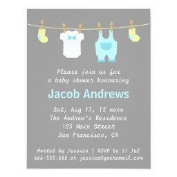 Elegant and Cute Baby Boy Shower, Blue and Grey