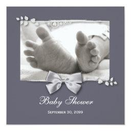 Elegant Baby Shower New Baby Feet With Silver Bow
