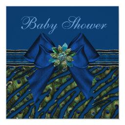 Elegant Blue Peacock Animal Print Baby Shower