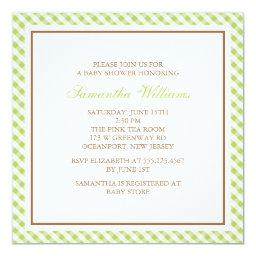 Elegant Green Gingham Pattern Baby Shower