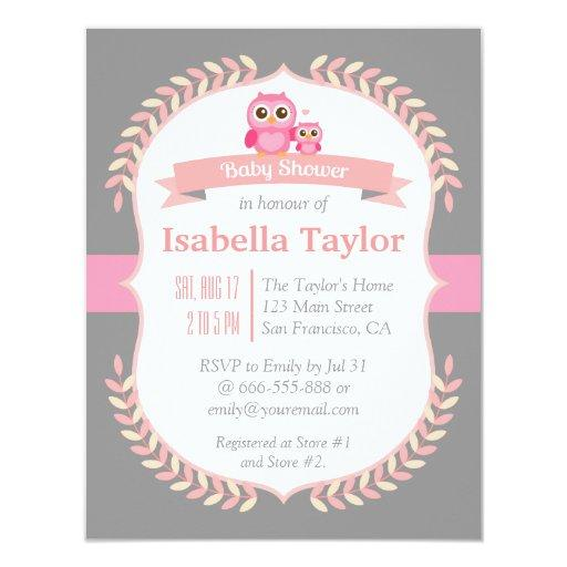 Elegant Owl Baby Girl Shower