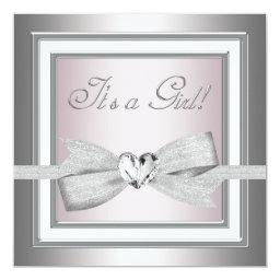 Elegant Pink and Gray Baby Girl Shower