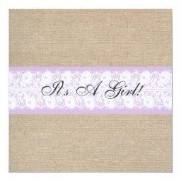 Elegant Purple Burlap Lace Baby Shower