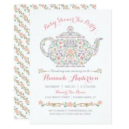 Elegant Tea Party Girl Baby Shower • Teapot