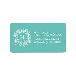Elegant Tiffany Teal green Floral Wreath Monogram Label