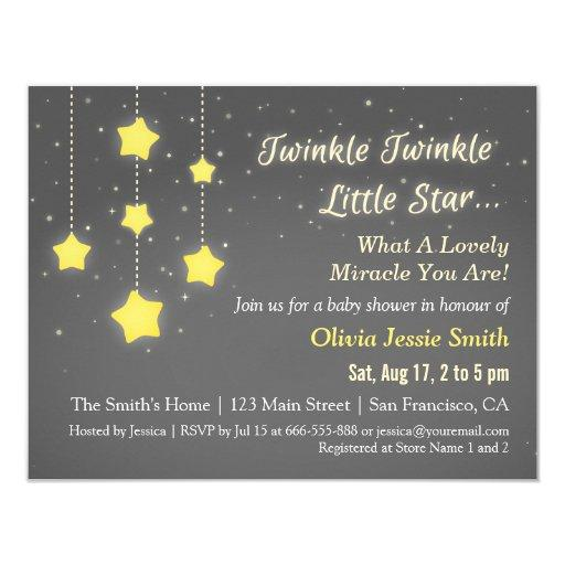 baby shower elegant twinkle twinkle little star baby shower card