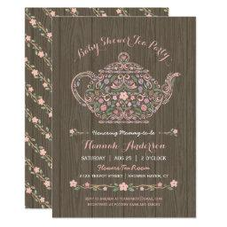 Elegant Woodland Teapot Baby Girl Shower Invite