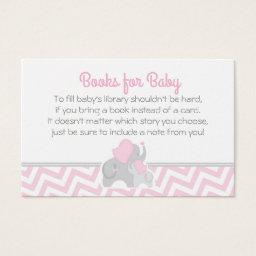 Elephant Baby Shower Bring a Book  Pink Gray