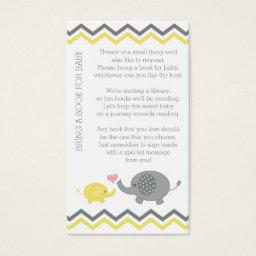 Elephant Baby Shower Bring a Book Insert | Yellow