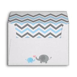 Elephant Baby Shower Envelope Blue Gray Chevron