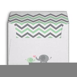 Elephant Baby Shower Envelope Green Gray Chevron
