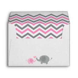 Elephant  Envelope Pink Gray Chevron