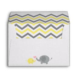 Elephant  Envelope Yellow Gray Chevron