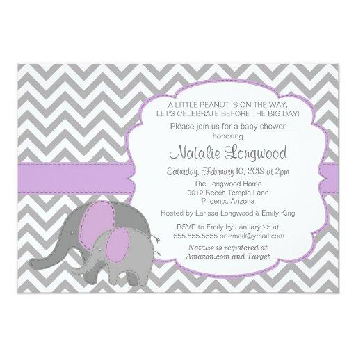 baby shower elephant baby shower invitation chevron purple card