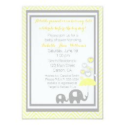 Elephant Baby Shower Invitation- Yellow and Gray