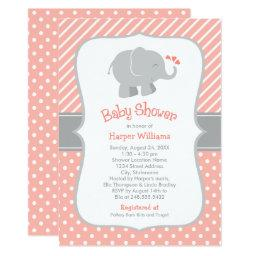 Elephant Baby Shower  | Coral and Gray
