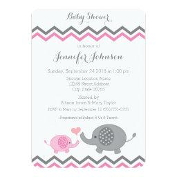 Elephant  Invite | Pink Gray Chevron