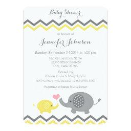 Elephant  Invite | Yellow Gray Chevron