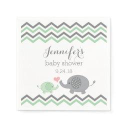 Elephant Baby Shower Napkins Green Gray Chevron
