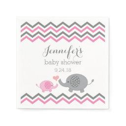 Elephant Baby Shower Napkins Pink Gray Chevron