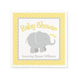 Elephant Baby Shower Napkins | Yellow and Gray