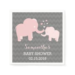 Elephant  Pink and Grey Paper Napkins