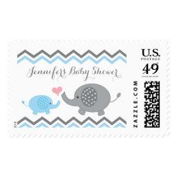 Elephant  Stamps Blue Gray Chevron Boy
